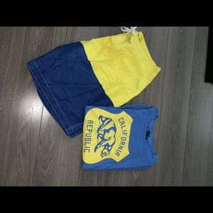 Old navy swim trunks & t shirt xl